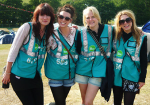 Hotbox Events volunteer stewards working in festival campsite
