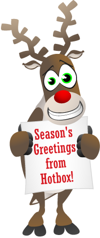 Hotbox Events Reindeer Holding Banner