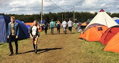 Hotbox Events volunteers keeping an eye on the Leeds Festival campsite fire lanes