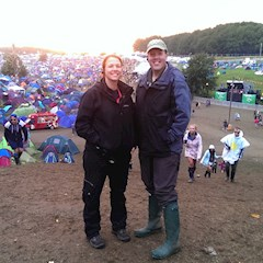 Steph and James taking a walk around the Leeds Festival campsites