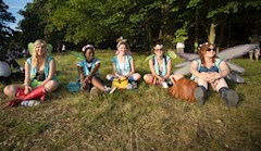 Hotbox pixie volunteers chilling out by the woods by Marc Sethi