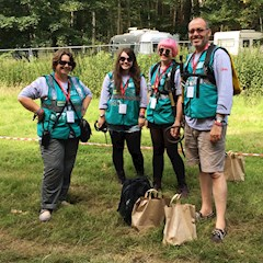 A happy family working with us in the performer campsite at Latitude Festival