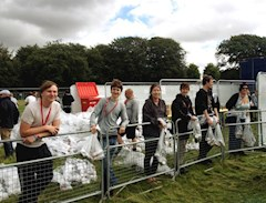 The Leeds Festival beer volunteers ready to go