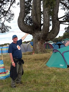 Dave literally supporting the Latitude Festival campsites