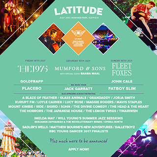 2017 Latitude Festival line-up! Volunteer for free tickets to Latitude Festival!