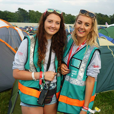 Volunteer at Reading Festival - Campsite volunteers with tents