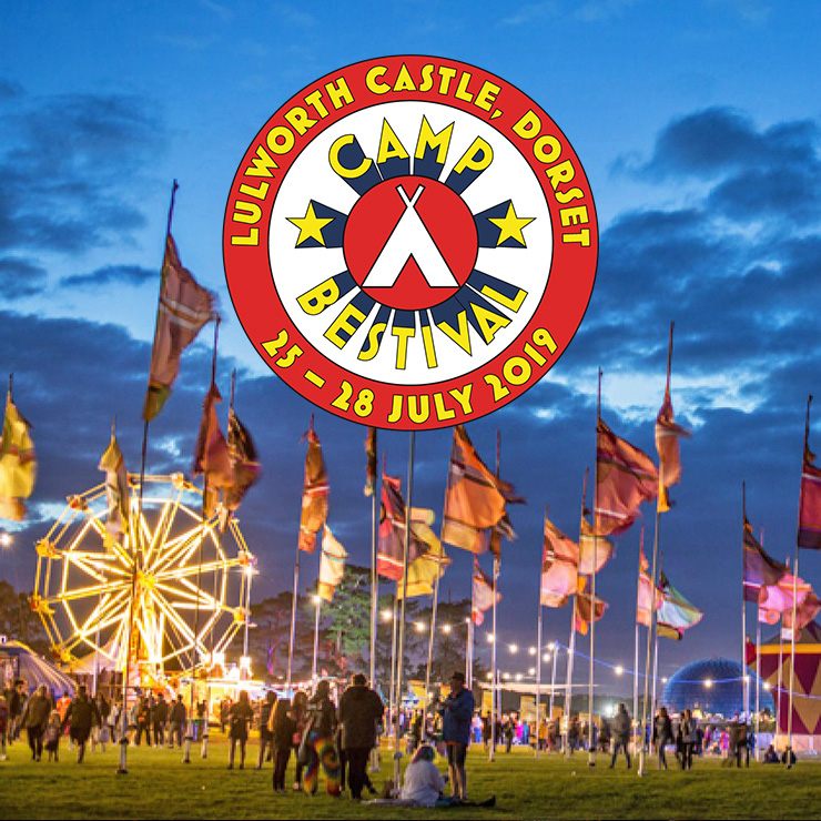 Volunteer at Camp Bestival with Hotbox Events - Arena photo with festival logo - v2019 001 740PxSq72Dpi