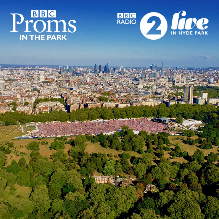 About Page - Work at BBC Live in Hyde Park with Hotbox Events - Aerial photo with event logos - v2019-002 - 740PxSq72Dpi