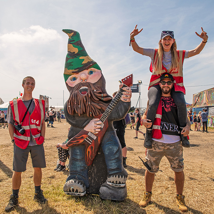 Volunteer at Download Festival 2020 with Hotbox Events - Village volunteers with rocking gnome