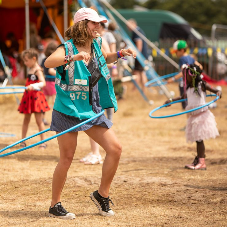 Volunteer at Latitude Festival 2020 with Hotbox Events - Kids area volunteer hula hooping