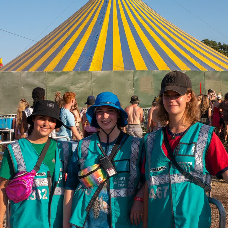 Volunteer at Reading Festival 2020 with Hotbox Events - Arena volunteers in front of dance tent