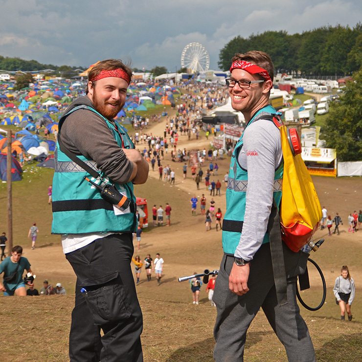 Volunteer at Leeds Festival 2020 with Hotbox Events - Campsite volunteers at the top of the hill