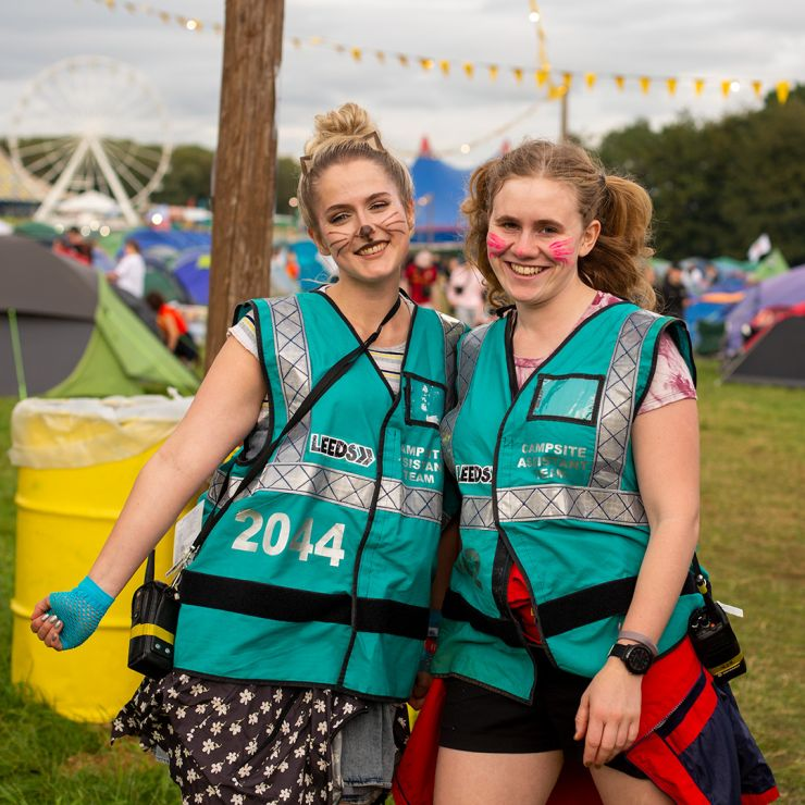 Volunteer at Leeds Festival 2020 with Hotbox Events - Campsite volunteers smiling