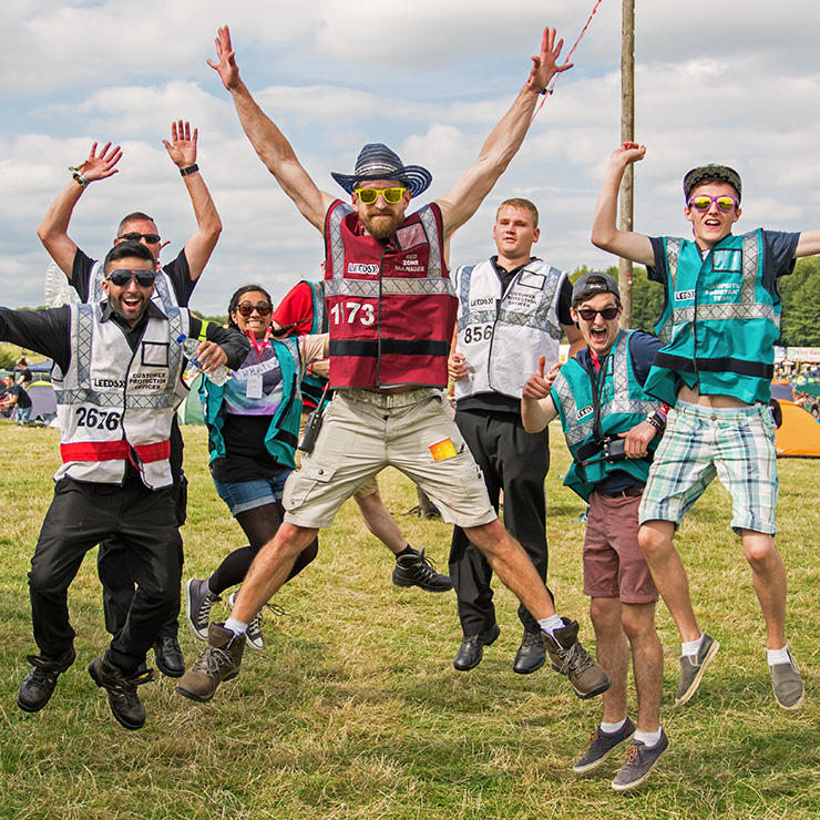 Volunteer at Leeds Festival 2020 with Hotbox Events - Campsite volunteers jumping